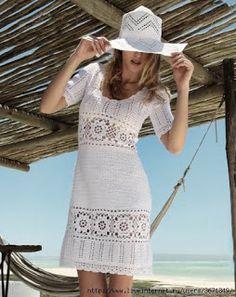 Receitas de Crochet: Vestido branco de linha