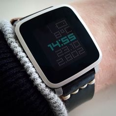 """txttmm"" #Watchface by @ttmmaftertime with a black @primria_design #watchband on #PebbleTimeSteel #pebble #smartwatch #pebbletime #watchfaces Pebble Smartwatch Watchfaces"