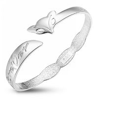S990 Sterling Silver Cuff Bracelet Bangle Fox Design With'love You Forever 'Stamp -- Continue to the product at the image link.