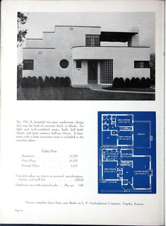 Artistic Homes. Vintage House Plan, 1940's. Stucco and Glass with Curves...