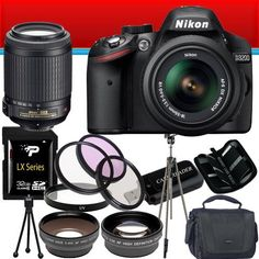 Nikon D3100 14.2MP Digital SLR Camera w/ Nikon 18-105mm f/3.5-5.6 AF-S DX VR ED Nikkor Lens Wide Angle Lens 32GB DavisMAX Advanced Bundle I by Nikon. $888.79. This DavisMAX Bundle Includes: 1- Nikon D3100 14.2MP Digital SLR Camera Brand New USA w/ Supplied Manufacturer Accessories 1- Nikon 18-105mm f/3.5-5.6 AF-S DX VR ED Nikkor Lens Brand New USA w/ Supplied Manufacturer Accessories 1- 3 Piece Filter Kit Includes: UV, Circular Polarizer and Flourescent Filter and H...