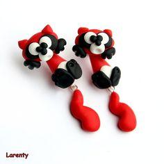 Panda červená pecko-naušnice