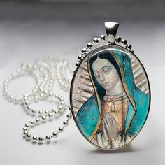 Our Lady of Guadaloupe Guadalupe Oval Glass Tile Pendant Necklace | ViaDellaRosa - Jewelry on ArtFire