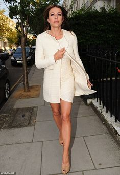 Leggy: Elizabeth Hurley looked stunning as she stepped out on Saturday evening
