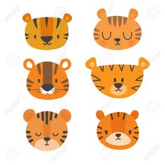 Set of cute tigers funny doodle animals little tiger in cartoon style stock vector art & more images of animal - istock