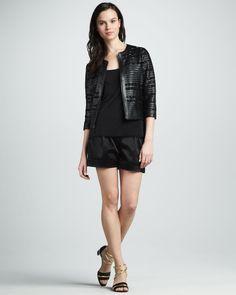 http://ncrni.com/grayse-leather-ribbon-baguette-jacket-satin-twill-shorts-p-3758.html