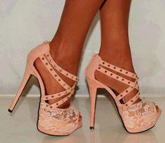 Peach colored heels