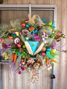 Easter Hat Deco Mesh Wreath by WreathsEtc on Etsy, $178.00