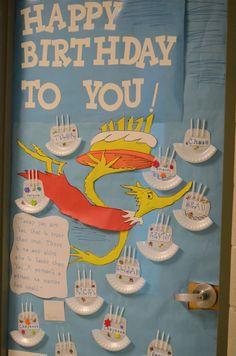 Seuss Tour of Doors Dr. Seuss Tour of Doors Classroom Birthday Gifts, Dr Seuss Birthday, Classroom Themes, Classroom Door, Classroom Design, Dr Seuss Bulletin Board, Birthday Bulletin Boards, Birthday Board, Birthday Club