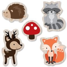 Woodland Creatures Shaped Paper Cut Outs - Baby Shower or Birthday party Small Die Cut Decoration Kit - Hedgehog, Raccoon, Fox, Deer - 24 pc Woodland Theme, Woodland Party, Woodland Creatures, Woodland Animals, Forest Animals, Moldes Para Baby Shower, Do It Yourself Baby, Diy Bebe, Shower Bebe