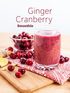Ginger Cranberry Smoothie: We've added just the right amount of ginger to add a little zip to this this tangy smoothie. It might not melt the snow outside, but it'll certainly help you conquer it, Vega-style. #BestSmoothie #VegaSmoothie