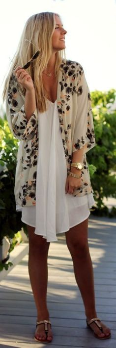 Style Know Hows: Lovely Summer Floral Print Cover and White Lace Dr...