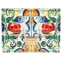 Dolce & Gabbana Women Maiolica Printed Leather Card Holder ($295) ❤ liked on Polyvore featuring bags, wallets, multi, card holder wallet, leather card holder wallet, real leather bag, genuine leather bag and card case wallet
