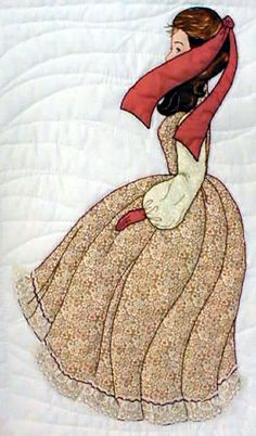 "#3 ""Bonnet Girl Relatives & Friends""  Beatrice $6.50.  Beatrice has an appliqué lace trimmed skirt blowing in the wind with a red ribbon and gloves for her accessories."