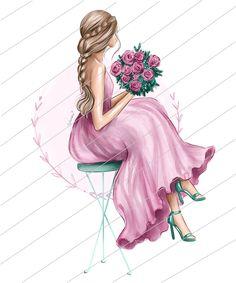 Flower Art Drawing, Watercolor Girl, Cartoon Girl Images, Spring Girl, Girly Drawings, Girl Clipart, Girls With Flowers, Art Desk, Illustration Girl