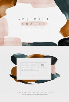 Abstract Watercolor Shapes and Backgrounds in Blush, Rust, Blue, Gray and Black  Hand-painted watercolor shapes, backgrounds, and paint splotches. Perfect for print and web projects such as wedding invitations, branding, greeting cards, and many other uses. Create your own compositions or use any of the ten pre-made ones to get started. #watercolorshapes #abstractwatercolor #abstract #modernbranding #branding #color #colortrend2020 Abstract Face Art, Abstract Logo, Abstract Watercolor, Layout Inspiration, Creative Inspiration, Watercolor Branding, Corporate Id, Board Game Design, Find Fonts