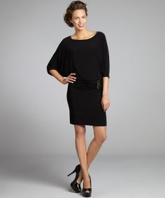 A.B.S. by Allen Schwartz : black stretch jersey suede trimmed dolman dress