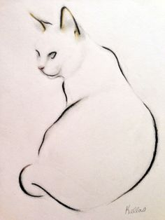 "Saatchi Online Artist: Kellas Campbell; Conte 2013 Drawing ""Cat Study - Sitting"""
