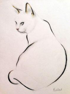 "Saatchi Online Artist: Kellas Campbell; Conte 2013 Drawing ""Cat Study - Sitting"""