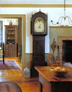 primitive homes decor Colonial Home Decor, Colonial Furniture, Country Furniture, Country Decor, Colonial Decorating, Decorating Ideas, Farmhouse Decor, Decor Ideas, Farmhouse Interior