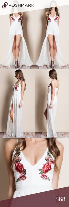 "White Embroidered Mesh Maxi Romper White maxi romper with red floral embroidery. This is an ACTUAL PIC OF THE ITEM. All photography done personally by me. NO TRADES DO NOT ASK. True to size but a very snug fit.   • Mirela is wearing the size small • 5'10"" Bust 33 inches Waist 24 inches Hips 36 inches Bare Anthology Pants Jumpsuits & Rompers"