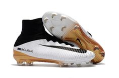newest 19669 db0ef Nike Mercurial Superfly V FG Soccer Shoes White Gold Black on  www.evensoccer.com