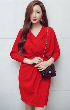 Red+Long+Sleeve+Ruffle+Loose+Fit+Dress
