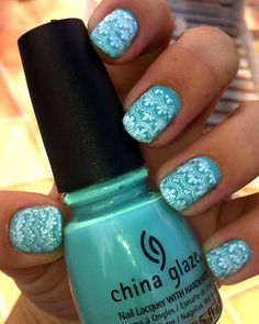 China Glaze blue nails with stamped white lace.  So pretty.  Is that color For Audrey???