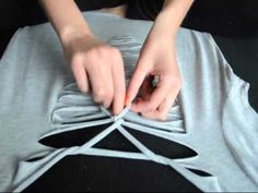 How to Cut Fringes on the Sleeve of a T-Shirt : Shirt Modifications - YouTube
