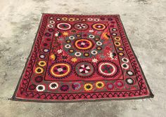 SQUARE Table Cover - Handmade Suzani Blanket - Antique Table Cloth - Wall HANGING Suzani Fabric - Vintage Turkish Bedding - Bedspread Suzani by istanbulcarpet on Etsy