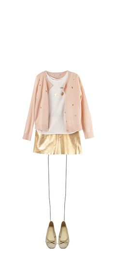 Embroidered cardigan Pale Pink Silkscreen printed T-shirt Milk White Fée leather skirt Gold Soft ballet pumps Gold