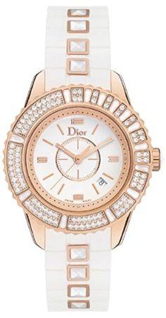Christian Dior Women's CD113170R001 Christal Analog Display Swiss Quartz White Watch