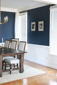 Blue Dining Room Paint, Dark Blue Dining Room, Dining Room Colors, Elegant Dining Room, Dining Room Walls, Dining Room Design, Dinning Room Paint Ideas, Dining Room Wainscoting, Dining Room Inspiration