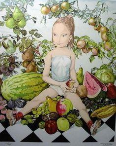 レオナール・フジタ「少女と果物」(1963) ※リトグラフ(エスタンプ)