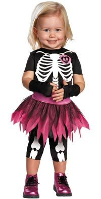 toddler skeleton costume maybe paint a little pink heart on the shirt