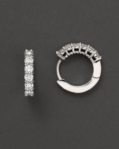 Roberto Coin 18 Kt. White Gold/Diamond Small Diamond Hoop Earrings, 15 mm   Bloomingdales's