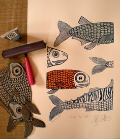 linocut With the tide fish navy blue blue ocean by linocutheaven