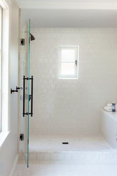 white shower dark hardware on frameless shower door ...Tile Forecast: Fresh Showers : tile door - Pezcame.Com