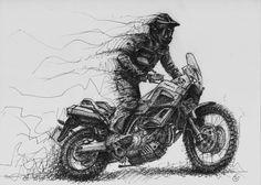 Dessin Yamaha XT660Z Ténéré  Yamaha XTZ 660 Ténéré drawing