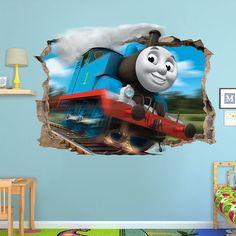 THOMAS The Tank ENGINE 3d Wall Sticker Smashed Bedroom train Kids friends decor Vinyl Art DECAL Removable Broken Mural Home Blue Locomotive