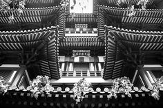 Buddhist Temple Black and White Photography by ImagesByTiffyMoon Buddhist Temple, Buddhism, Black And White Photography, Spirituality, Asian, Wall Art, Etsy, Black White Photography, Temples