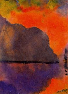 Emil Nolde  [German Expressionist Painter, 1867-1956]  Lif by the Sea (in Evening Light), nd