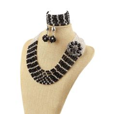 Fashion African Wedding Beads Jewelry Set Black White Crystal Nigerian Beads Flower brooch Necklaces Bracelet Earrings