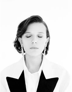 """Millie Bobby Brown for L'Officiel. Cast Stranger Things, Millie Bobby Brown, My Idol, Actors & Actresses, Hair Cuts, Celebs, Singer, Toms, Black And White"