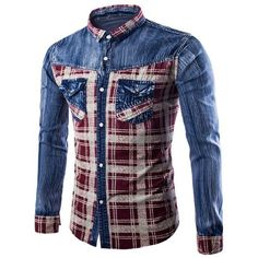 Casual Single Breasted Turn Down Collar Plaid Denim Shirt For Men (42 BAM) ❤ liked on Polyvore featuring men's fashion, men's clothing, men's shirts, men's casual shirts, mens denim shirt, mens plaid shirts, mens collared shirts and mens tartan shirt