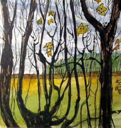 Edge of the Copse, Linley. Ink and watercolour