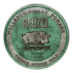 Reuzel Hair Pomade, Green Grease Medium Hold Water Soluble, 4 Oz