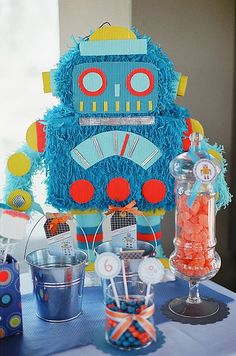 Adorable robot b-day party