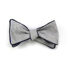 skinny vinny chambray bowtie with blue trim