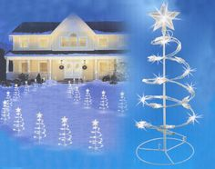 """Set of 3 Clear Lighted Outdoor Spiral Walkway Christmas Trees Yard Art 18"""" - 31463880"""